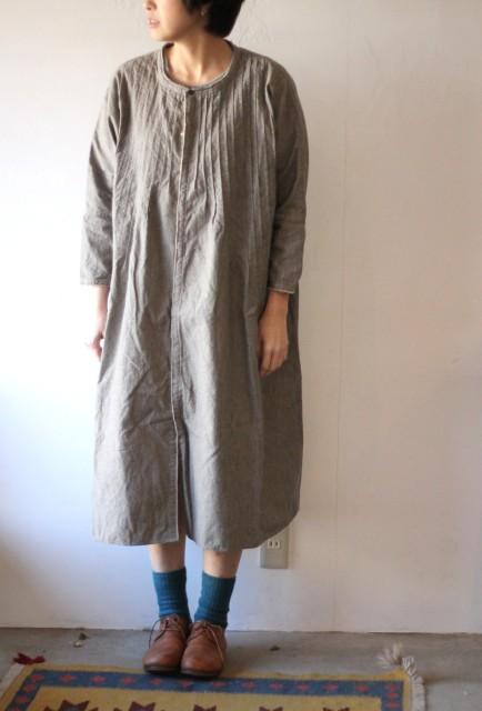 杢シャンブレー ピンタックオキーフドレス