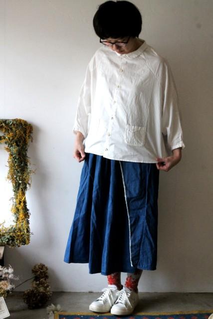 OX丸衿ベルジシャツ