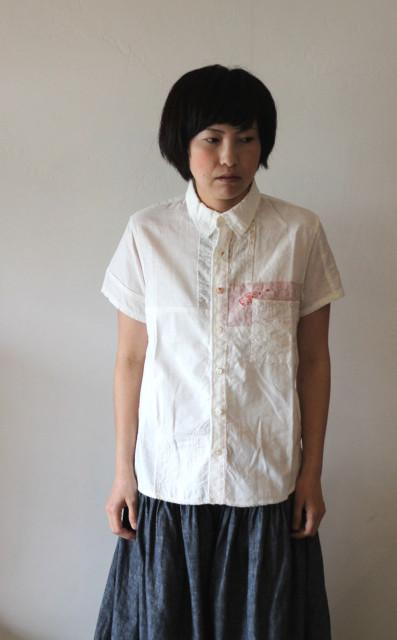 KAPITAL【キャピタル】ホワイトOXハーベストリメイクカトマンズシャツ(半袖)