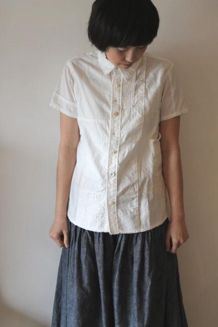 KAPITAL【キャピタル】ホワイトパッチワーク カトマンズシャツ(半袖)
