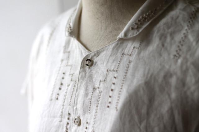 KAPITAL【キャピタル】リネンドロンワーク フレンチスリーブジャイアントシャツ