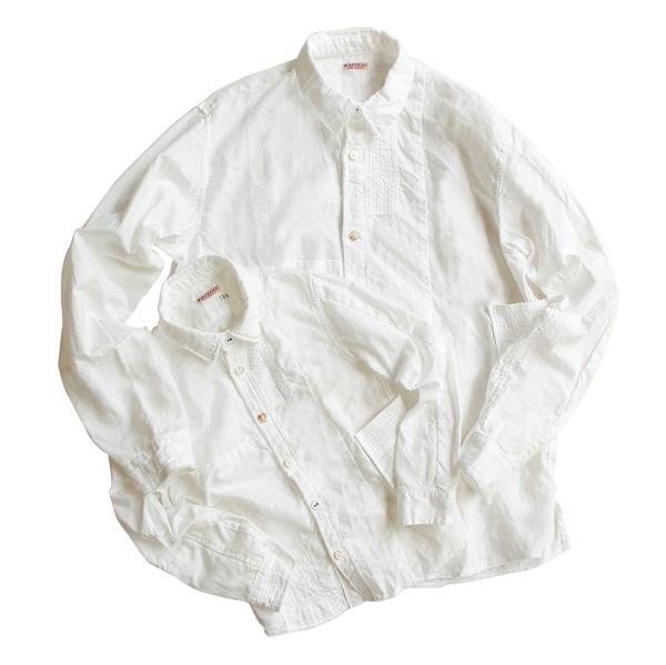 KAPITAL【キャピタル】綿xリネンKIDSホワイトパッチワークカトマンズシャツ