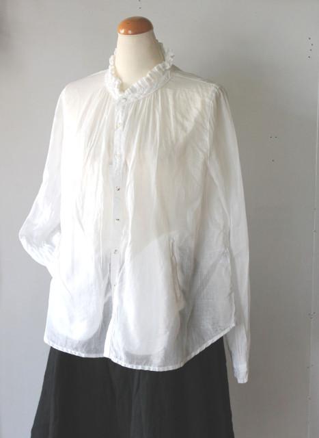 KAPITAL【キャピタル】綿麻ローン フリルピアノシャツ